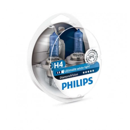 ΛΑΜΠΕΣ PHILIPS H4 12V 60/55W DIAMOND VISION 5000K