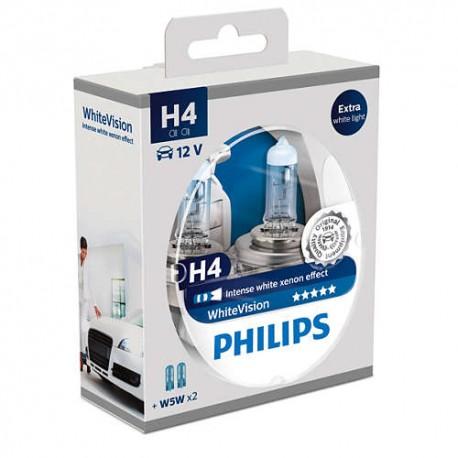 ΛΑΜΠΕΣ PHILIPS H4 WHITE VISION 12V 60/55W 3700K 60% ΠΕΡΙΣΣΟΤΕΡΟ ΦΩΣ + 2 W5W