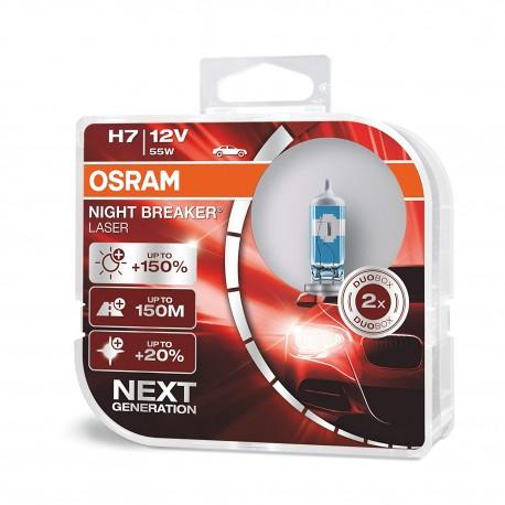 ΛΑΜΠEΣ OSRAM H7 12V 55W NIGHT BREAKER LASER +150% ΠΕΡΙΣΣΟΤΕΡΟ ΦΩΣ